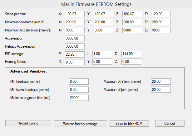 marlin ender 3 firmware extruder temp settings